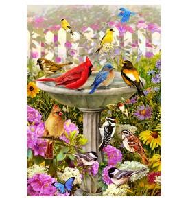 Spring Garden Flag Birdbath