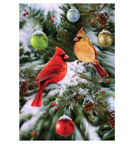 Christmas Garden Flag Cardinals And Oranaments