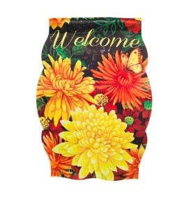 Evergreen Fall Mums Imperial Welcome Garden Flag