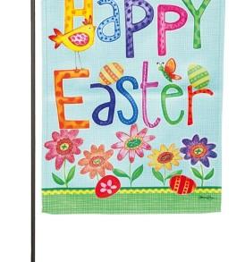 Happy Easter Suede Garden Flag