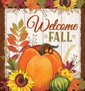 pumpkin plaid fall welcome